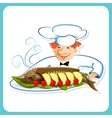 Chef with sturgeon vector image