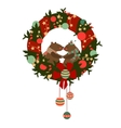 Christmas wreath with bears vector image