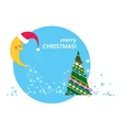 crescent Christmas tree and stars vector image