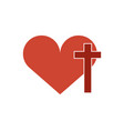 cross heart icon in on white background vector image vector image