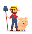 cute cartoon joyful mature male young guy farmer vector image vector image