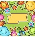 Cute child background with kawaii doodles Spring vector image vector image