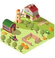 farm farmyard with outbuildings isometric vector image