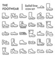 footwear line icon set boots symbols collection vector image vector image
