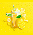 fresh lemon juice with ice and fruits vector image vector image