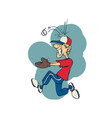 funny base ball player cartoon vector image vector image