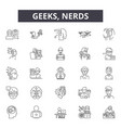 geeksnerds line icons for web and mobile design vector image