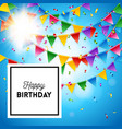 happy birthday card stationery template in blue vector image vector image