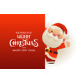 happy cute santa claus stands behind red vector image vector image
