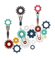 Isolated gear and businesspeople design vector image