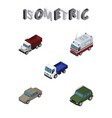 isometric car set of lorry armored auto and vector image vector image