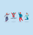 joyful characters friends jumping vector image vector image
