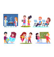 kids in lessons school children learning vector image