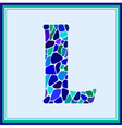 L - letter - Green Watercolor mosaic vector image