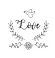 love bird flower grass background image vector image