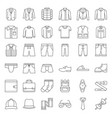 male clothes and accessories thin line icon set vector image