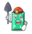 miner rectangle mascot cartoon style vector image