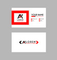 modern creative business card template with ak vector image vector image
