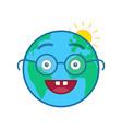 nerd world globe isolated emoticon vector image vector image