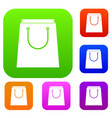 paper shopping bag set collection vector image vector image