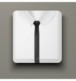 Premium Icon white shirt and black tie vector image