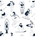 seamless pattern with hand drawn people surfing vector image