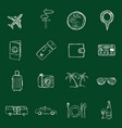set chalk travel and vacation icons vector image vector image