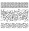 Set of seamless pattern floral borders isolated on vector image vector image