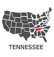 state tennessee on map usa vector image vector image