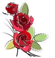 stylized simple roses vector image vector image