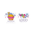 sweets logo design set tasty cupcake and candies vector image vector image
