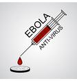 Syringe Ebola anti virus with drop into petri dish vector image