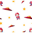 ufo cosmonaut cartoon pattern vector image