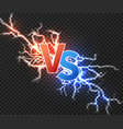 versus concept with collision two electric vector image vector image
