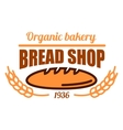 Vintage organic bakery shop icon with bread loaf vector image vector image