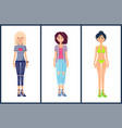 women set summer mode collection of clothes vector image
