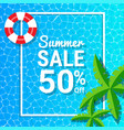 water waves and 50 off for summer sale discounts vector image