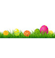 Happy Easter Border With Grass And Eggs vector image