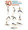 10 yoga poses for circulation booster concept vector image vector image