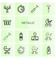 14 metallic icons vector image vector image