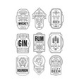 alcohol labels set retro alcohol industry vector image vector image