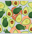 avocado seamless pattern whole and sliced with vector image