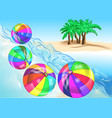 beach balls on coast vector image vector image