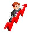 businessman on arrow graph vector image vector image