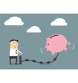 Businessman putting money to a piggy bank vector image vector image