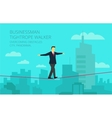 businessman walking tightrope against the vector image