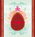 chocolate egg with red bow vector image vector image