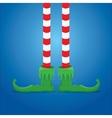 christmas cartoon elfs legs on blue background vector image