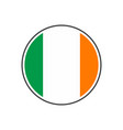 circle ireland flag with icon isolated on white vector image vector image