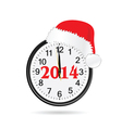 clock with christmas hat color vector image vector image